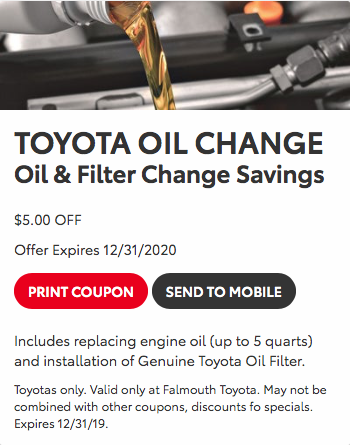 toyota oil change coupon 2020