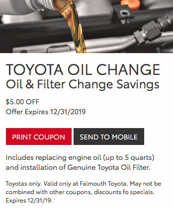 Toyota Oil Change Coupon >> Toyota Oil Change Service Cape Cod Falmouth Toyota Of Bourne Ma